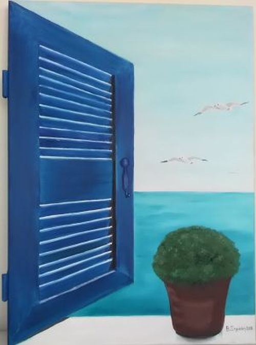 0200 - WINDOW TO AEGEAN 1 ( WOOD OIL PAINTING)