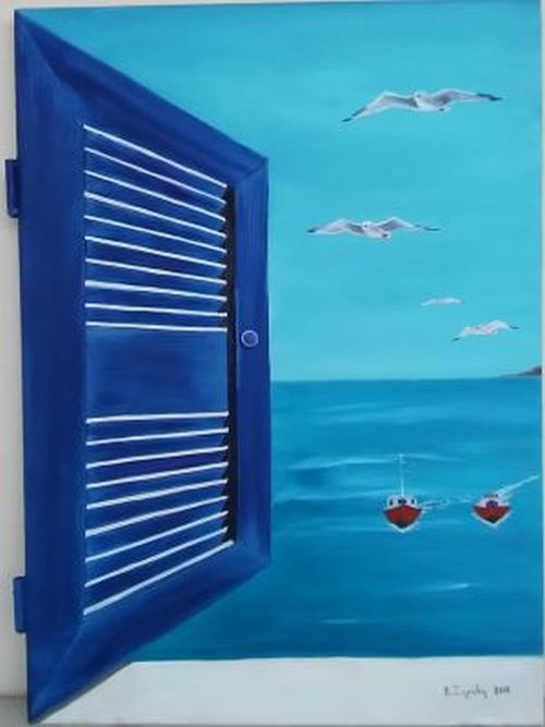 0201 - WINDOW TO AEGEAN 2 ( WOOD OIL PAINTING)